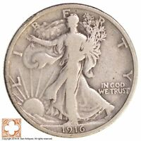 1916 WALKING LIBERTY HALF DOLLAR 90 SILVER 9330