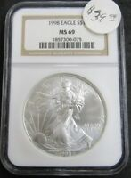 1998 AMERICAN SILVER EAGLE 1OZ .999 FINE SILVER COIN NGC MINT STATE 69