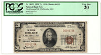 1929 TYPE 1 THE CITIZENS NATIONAL BANK OF CHILLICOTHE, MISSOURI PCGS VF 20