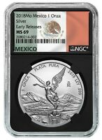 2018 MEXICO 1OZ SILVER LIBERTAD NGC MS69 ER   BLACK CORE   FLAG LABEL