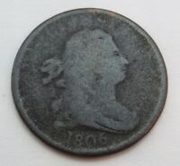 1806 U.S. HALF-CENT DRAPED BUST 1/2 CENT COPPER HEAVILY CIRCULATED-212 YEARS OLD