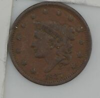 1837 MATRON HEAD LARGE CENT,