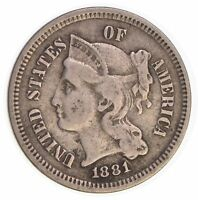1881 THREE CENT PIECE - COPPER NICKEL 3880