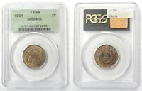 1864 TWO CENT PIECE PCGS OGH MINT STATE 64RB, 180 DEGREE ROTATED DIE ERROR L31