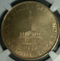 1939  PETROLEUM DOLLAR NGC MINT STATE 64 HK 484 GOLDEN GATE EXPOSITION