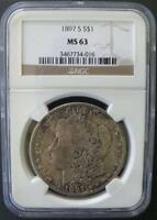 1897 S MORGAN DOLLAR NGC MINT STATE 63
