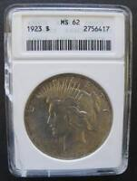 1923  PEACE DOLLAR ANACS MINT STATE 62