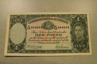 1942 AUSTRALIA ONE POUND   KING GEORGE VI WWII ERA BANKNOTE EXCELLENT CONDITION