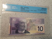 2001 $10 DOLLARS BANK OF CANADA. INSERT NOTE 9.0M 9.6M GEM UNC 67 CCCS BC 63AA