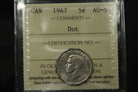 1947 DOT CANADA NICKEL 5 CENTS ICCS AU 50. XLG 436 WK