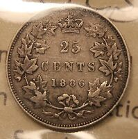 1886 CANADA SILVER 25 CENTS. ICCS VF 20 OBV 2 6 OVER 6 SBE.  TYPE.