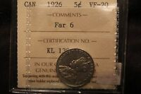 1926 FAR 6 CANADA 5 CENTS. VF 20 ICCS CERTIFIED.  VARIETY. BV $375. KL 129