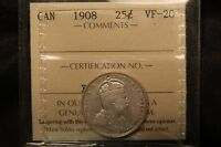 1908 CANADA SILVER 25 CENTS. ICCS VF 20 KING EDWARD QUARTER.