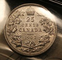1902 H CANADA SILVER 25 CENTS ICCS EF 45. NICE KING EDWARD QUARTER.