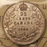 1934 CANADA SILVER 25 CENTS. ICCS EF 45 EXCELLENT LUSTRE.