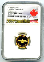 1967 2017 CANADA SILVER PROOF GILT DOVE ONE CENT NGC PF70 CE