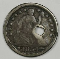 1854 LIBERTY SEATED HALF DIME. SQUARE HOLED BY NAIL. CIRC. DETAIL. HOLED. 115728