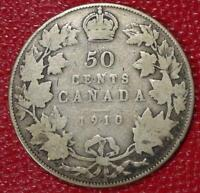 1910 CANADA SILVER 50 CENTS NICE CANADIAN COIN VG C215