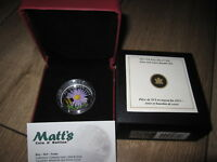 2012 $20 FINE SILVER COIN   ASTER WITH GLASS BUMBLE BEE   NO TAX