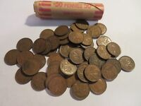 ROLL 50 PC 1949 COPPER PENNIES CANADIAN SMALL CENTS COINS CANADA PENNY GEORGE VI