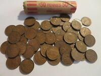 ROLL 50 PC 1951 COPPER PENNIES CANADIAN SMALL CENTS COINS CANADA PENNY GEORGE VI
