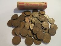 ROLL 50 PC 1950 COPPER PENNIES CANADIAN SMALL CENTS COINS CANADA PENNY GEORGE VI