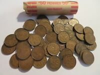 ROLL 50 PC 1948 COPPER PENNIES CANADIAN SMALL CENTS COINS CANADA PENNY GEORGE VI