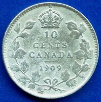1909 CANADA 10 CENT COIN  VICTORIAN LEAVES  2.32 GRAMS .925 SILVER