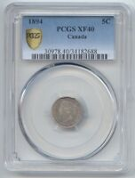 CANADA 1894 5 CENTS SILVER FIVE CENT PCGS XF 40