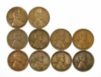 LOT OF 10 1919 D 1C LINCOLN WHEAT CENT PENNIES VF  FINE / VF 128153