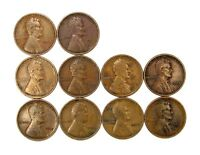 LOT OF 10 1913 P 1C LINCOLN WHEAT CENT PENNIES VF  FINE / VF 123858