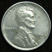 1943 S STEEL LINCOLN WHEAT CENT PENNY AU ABOUT UNCIRCULATED B01