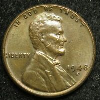 1948 D LINCOLN WHEAT CENT PENNY EF EXTRA FINE B02