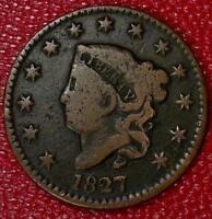 ANTIQUE COLLECTOR COIN1827 LARGE CENT F B599