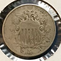 1866 5C RAYS SHIELD NICKEL 35325