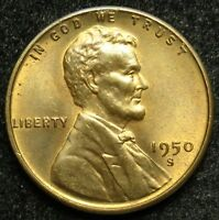 1950 S LINCOLN WHEAT CENT PENNY AU ABOUT UNCIRCULATED B04