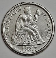 1887-S SEATED LIBERTY DIME.  A.U.  109187