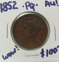 1852 BRAIDED HAIR LARGE CENT  COIN AU PQ C631