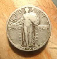 1929-D STANDING LIBERTY SILVER QUARTER  CIRCULATED WITH FULL RIMS UNCLEANED