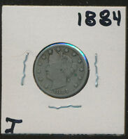 LIBERTY V NICKEL 1884 WITH LIBERTY WITH LETTERS IN HEADBAND