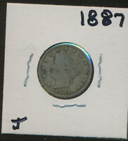 LIBERTY V NICKEL 1887 WITH LIBERTY WITH LETTERS IN HEADBAND - J