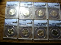 LOT OF 8 PRES.COINS WASH.ADAMS,MAD.JEFF.ANACS SATIN FINISH 69 P&D SATIN FIN.MAKE OFFER