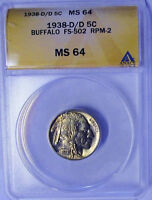 1938-D/D FS-502 RPM-2 ANACS MINT STATE 64 BUFFALO NICKEL GREAT CHIEF
