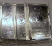 3 10 OZ. RCM .9999 SILVER BARS WITH SPECIAL EBAY LOGO LOW S/N'S