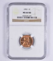 MINT STATE 66RD 1953 LINCOLN WHEAT CENT - NGC GRADED 9453