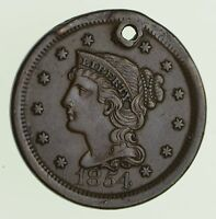 1854 BRAIDED HAIR LARGE CENT - CIRCULATED 9716