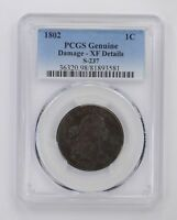 GENUINE DAMAGE - EXTRA FINE -DETAIL 1802 DRAPED BUST LARGE CENT - PCGS GRADED 4478