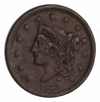 1839 BRAIDED HAIR LARGE CENT - CIRCULATED 1507