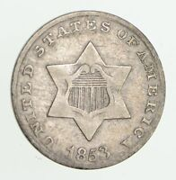 1853 SILVER THREE-CENT PIECE - CIRCULATED 7491