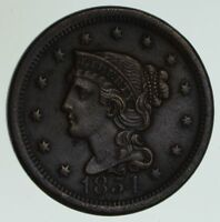 1854 BRAIDED HAIR LARGE CENT - CIRCULATED 6151